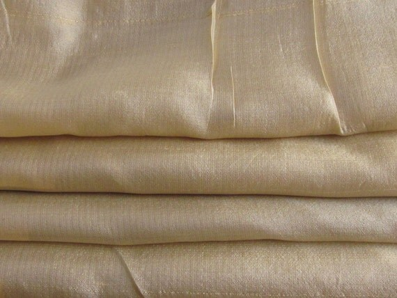 """Curtains, Vintage, Pure Silk Iridescent Gold, Two Pairs Available,  27""""w. at top x 65"""" w. at bottom x 65""""l."""