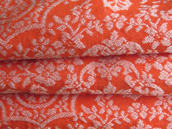 RESERVED for Jonona, First Installment  - Vintage Bedspread, Spicy Moroccan Orange and Pearl Reversible Wool Blend