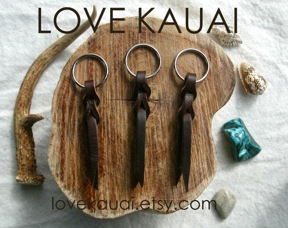 Small Brown Popper Keychain - Dark Brown Leather