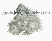 Blue Silkie Chicks Watercolor