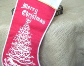 A Vintage Red Felt and Flocked Christmas Stocking