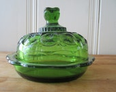 A Vintage Green Moon and Stars Butter or Cheese Dish