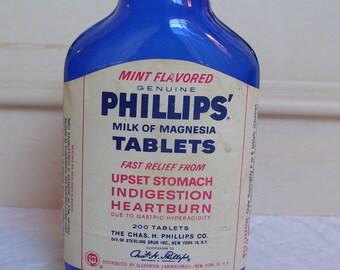 A Vintage Blue Medicine/Apothecary Bottle