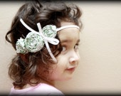 Green and White Rosette Headband with Accent bow