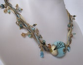 Beach Dream - A lampwork focal, ribbon and beaded necklace