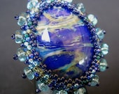 Starry Night- a lampwork cabochon cocktail ring