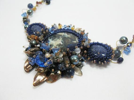 Cobalt - A lampwork and lapis lazuli cabochon necklace