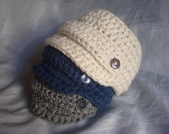 Crochet Baby Newsboy Beanie - Made to Order