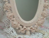 SHaBBy CoTTaGe CHiC Ornate Mirror  Romantic Victorian Roses Distressed Chippy
