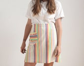 SALE Striped 1970s mini skirt (L)