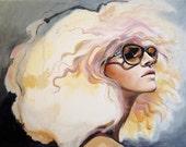 Original Fashion Portrait of Woman Illustration Print- Lavender Heat