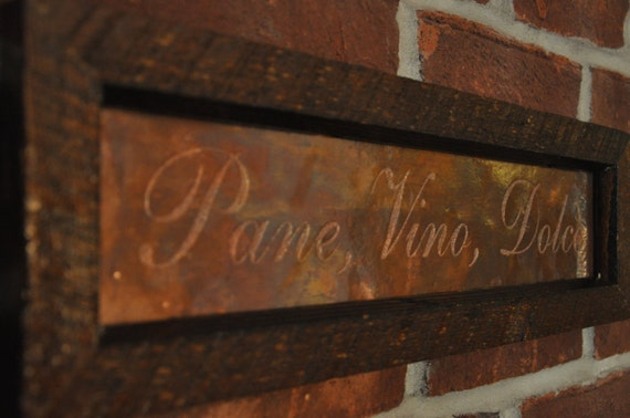 Pane Vino Dolce framed copper engraved art