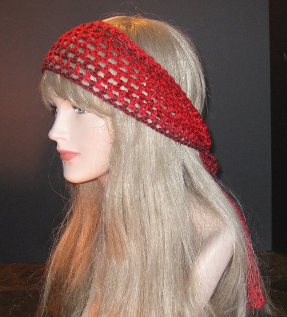 Crochet Hair Wrap : Red Gypsy Hair Wrap Scarf Hippie Headwrap Hipster BOHO Crocheted ...