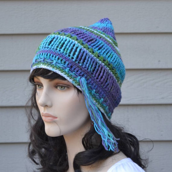 Hippie Hat Pixie Beanie Hippie Festival Clothes Hat Blue Green Purple White Peacock Colors Women Men