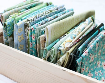 Designer Fabric Studio Scraps - Cool Colored Prints - 12 ounces
