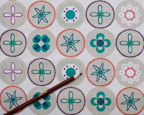 SALE - Ruby Star Spring Stone Flower Dots from Melody Miller for Kokka Fabrics - 1 Yard