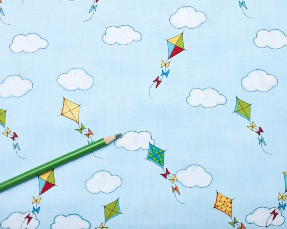 SALE - The Neighborhood - blue kite by Monica Lee from Timeless Treasures - 1 Yard
