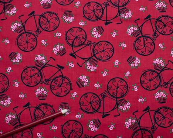 SALE - L'Amour De La Vie - Velo Fleurs - red bicycle from Timeless Treasures - 1 Yard