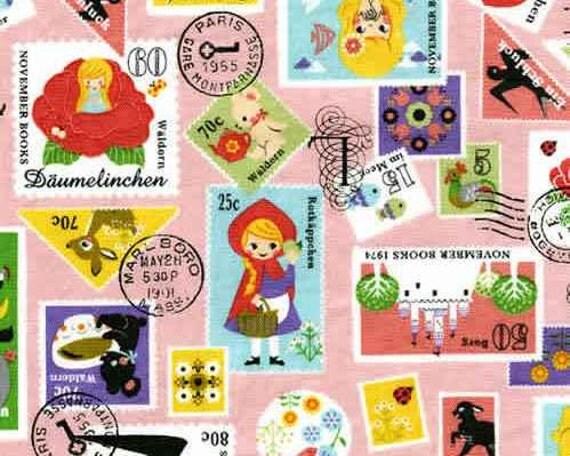 SALE - Push Pin II - Stamp pink from Kokka Fabrics