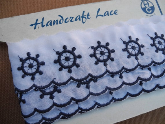 RESERVED for Meggieve Vintage Nautical Embroidered Lace Trim 1mt NAVY