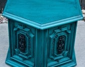 Bold Peacock Teal Side Table/Nightstand