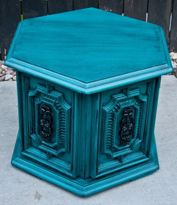 Bold Peacock Teal Side Table Nightstand