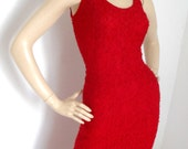 Vintage Movie Glamour Pin Up Midi  Red Lace dress 12 10 80s