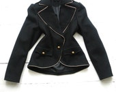 Vintage black WOOL fitted EPAULETTE DANDY Gothic Military jacket Victorian Burlesque Riding coat  6 8