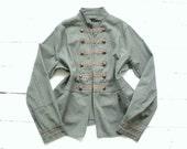 Vintage 80s DANDY Gothic Military jacket Victorian Steampunk Burlesque coat  UK 12 US 10