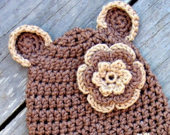 PATTERN Little Bear Crochet Beanie Hat PDF - baby to adult sizes - instructions for beanie, earflap, braids - Instant digital download