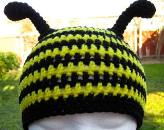 Busy Bee Crochet Hat Pattern PDF  - instructions to make a beanie or earflap hat with braids or ties - Instant Digital Download