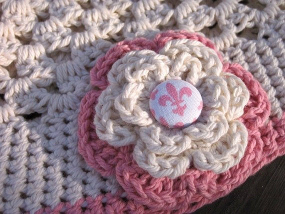 Pattern Sweet cream and rose crochet beanie hat PDF - Newborn baby toddler child adult sizes  - 12mo 18mo 2t 3t - Instant Digital Download