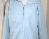 Vintage womens clothing 60's pale blue hooded anorak