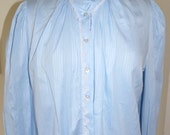 Vintage womens clothing 80's pale blue self stripe blouse size 10/12