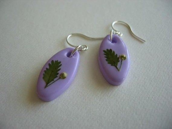SALE Pressed Flowers Lilac Earrings