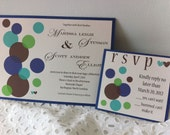 Blue and Green Wedding Invitation - Bubbly Love - Brown Polka Dots