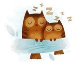 Sleeping Owls - Giclee Print 8x10""