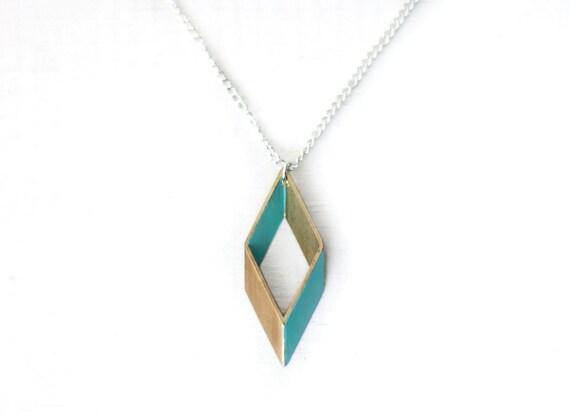 Rhombus Geometric Necklace (Turquoise)