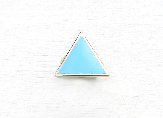 Geometric Painted Triangle Ring (Blue)