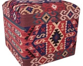 Hand made cube stool constructed of thick hand-woven wool Turkish kilims - a mother's day gift