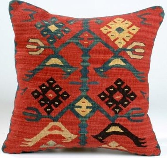 Hand Woven Turkish Antique Kilim Rug Pillow Cover 26 X By