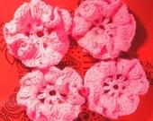 2 Pretty Hot Pink Crochet Daisy Flowers, embellishments