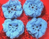 2 Pretty Baby blue Crochet Daisy Flowers, embellishments