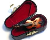 Violin Brooch Pin with Box Case Instrument Orchestra Musician Music Violins Viola Badge