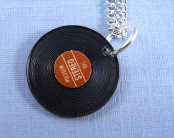 Record Necklace red green or blue silver plated Necklace Music DJ Miniblings LP Vinyl