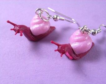 Snail Snails Earrings Pink Animal Miniblings Escargots Slug