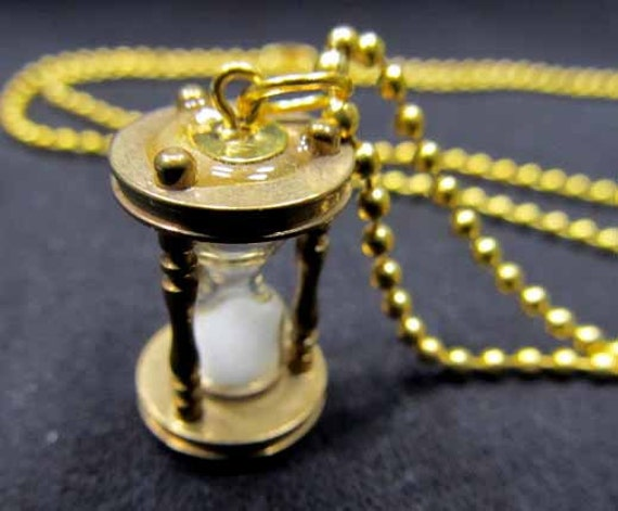 Necklace Hour Glass Clock Egg Timer gold plated Sand Glass Miniblings real Sand