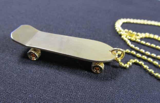Gold Skateboard Necklace Skateboard Necklace Miniblings