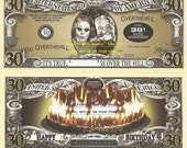 30th Birthday Over the Hill Dollar Bills x 4 Gift New