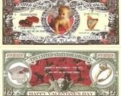 Happy Valentines Day True Love Cupid 14 Dollar Bills x 4 Gift